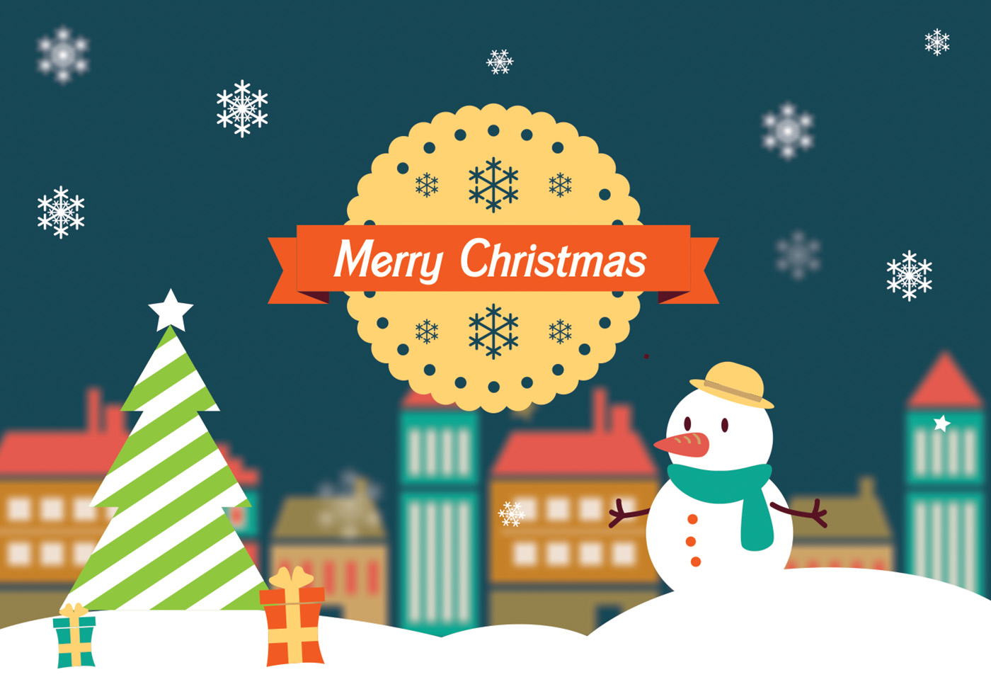 Merry Christmas Landscape Vector  Download Free Vector