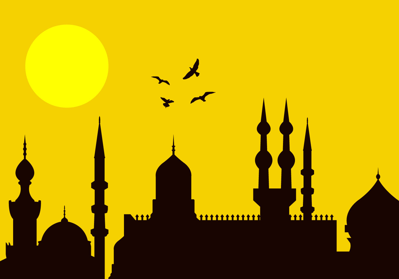 Eid alFitr City Silhouette  Download Free Vector Art