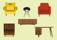 Vector Set of Mid Century Furnitures - Download Free ...