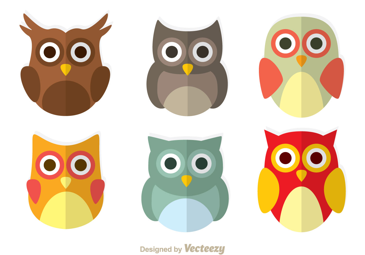 Cute Owl Flat Icons Download Free Vectors Clipart Graphics Vector Art