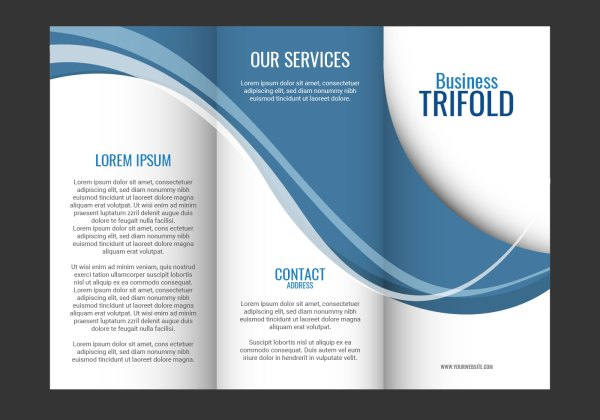 Template Design Of Blue Wave Trifold Brochure
