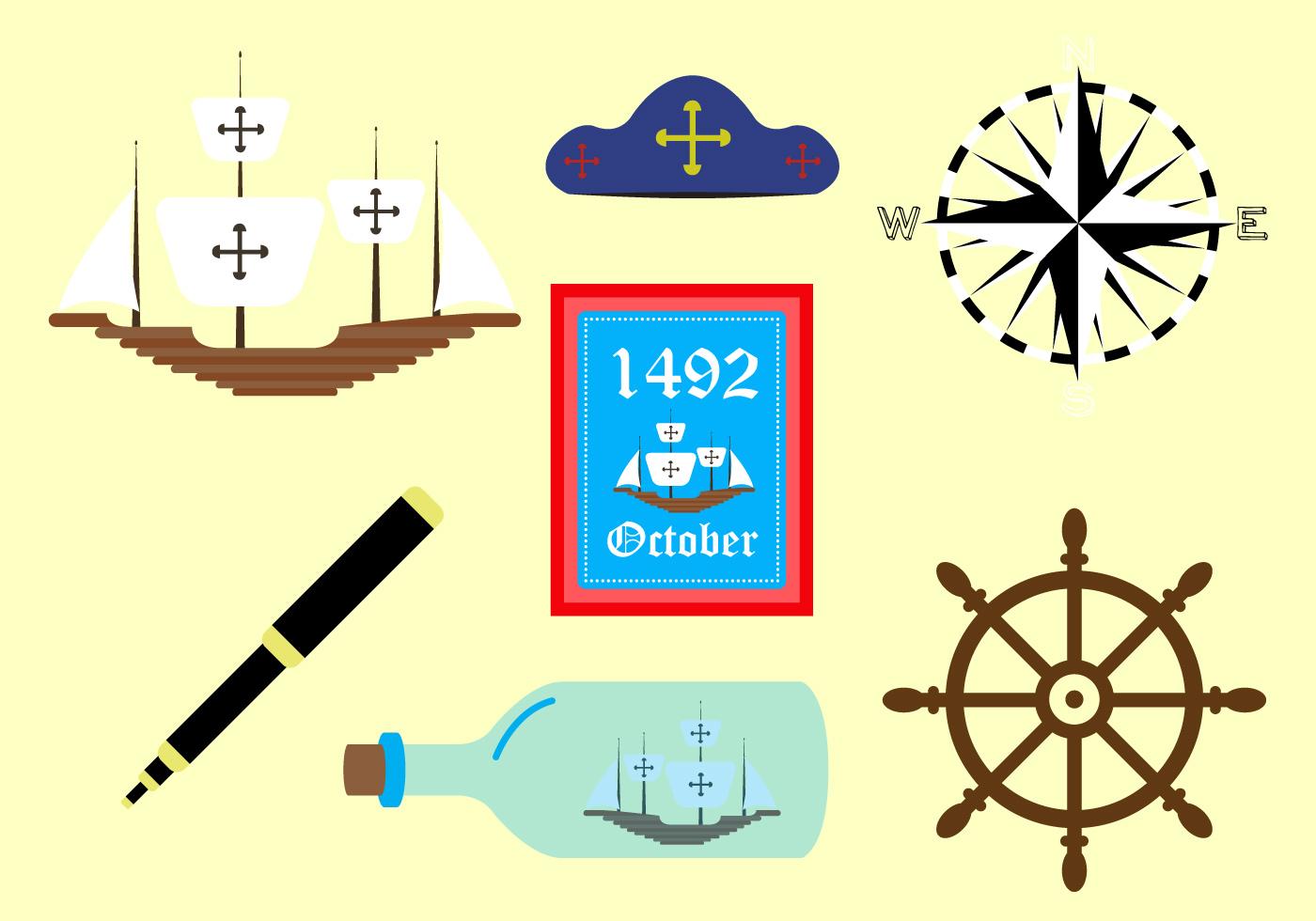 Vector Symbols Of Columbus Day
