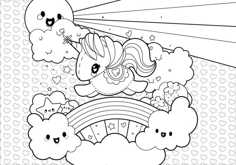 Rainbow Unicorn Scene Coloring Page - Download Free Vector ... | unicorn rainbow coloring pages free
