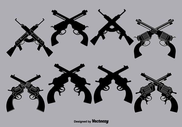 Vector Crossed Guns - Free Art Stock
