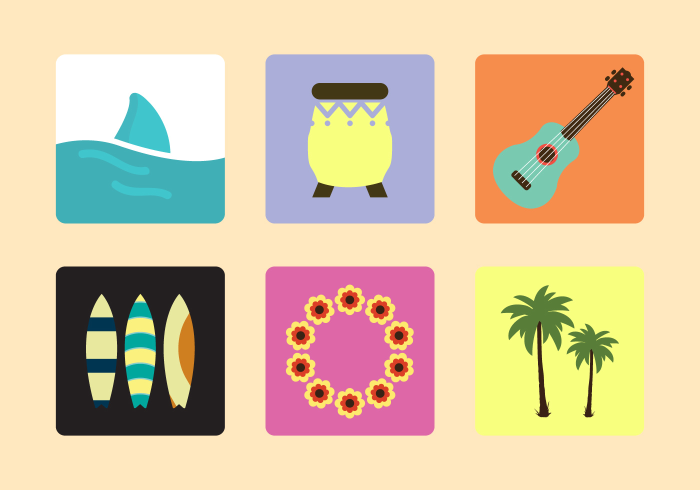Hawaiian Vector Icons Download Free Vector Art Stock