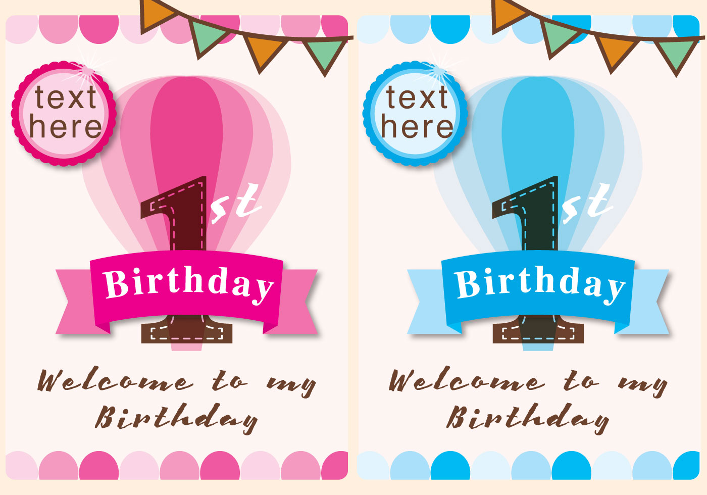 https www vecteezy com vector art 101622 invitation 1st birthday girl and boy