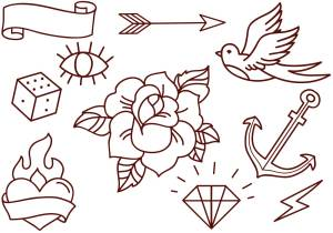 tattoo flash tattoos vector designs drawings vectors simple sketches traditional arrow rose vecteezy outline stencils heart tatto american tatoo wolf