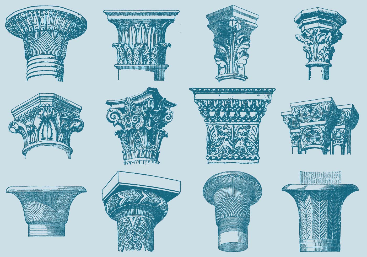Old Style Drawing Column Capitals