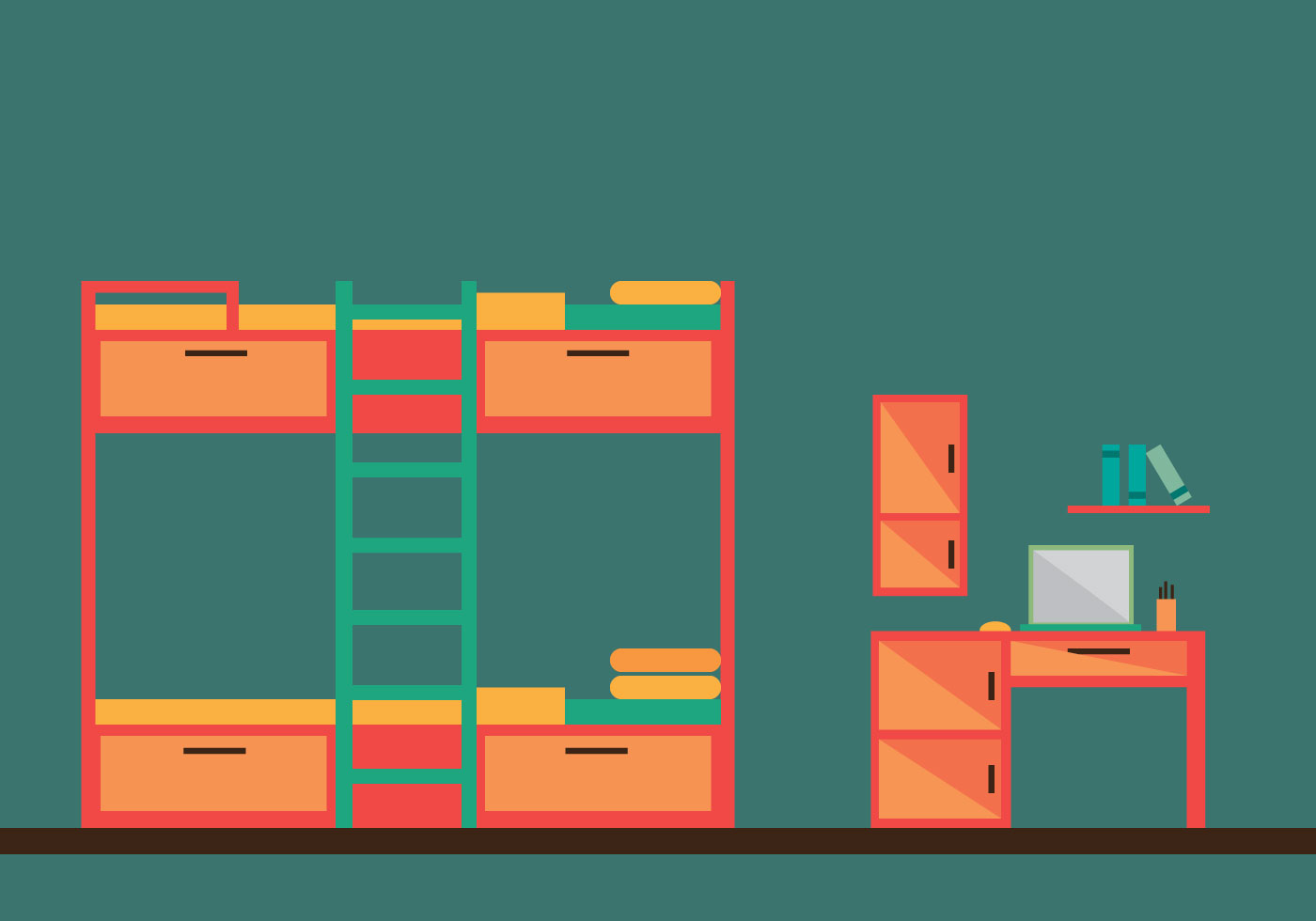 Free Bunk Bed Room Vector Illustration  Download Free Vector Art Stock Graphics  Images