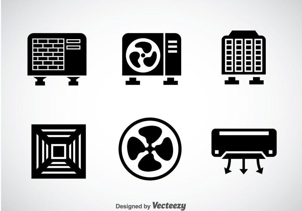 medium resolution of hvac system black icons vector