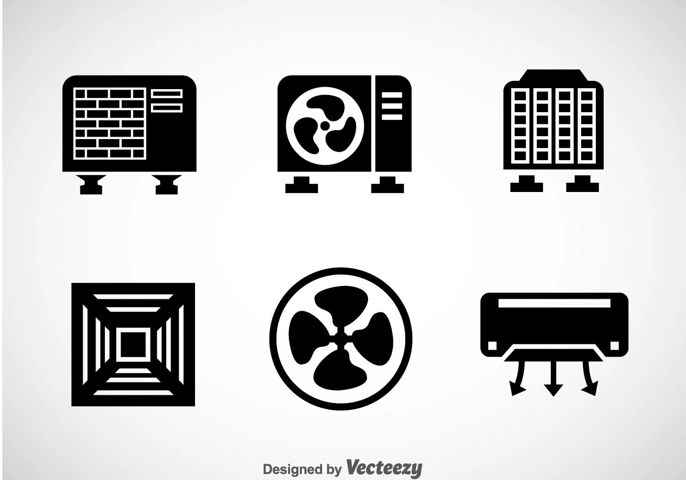 hight resolution of hvac system black icons vector
