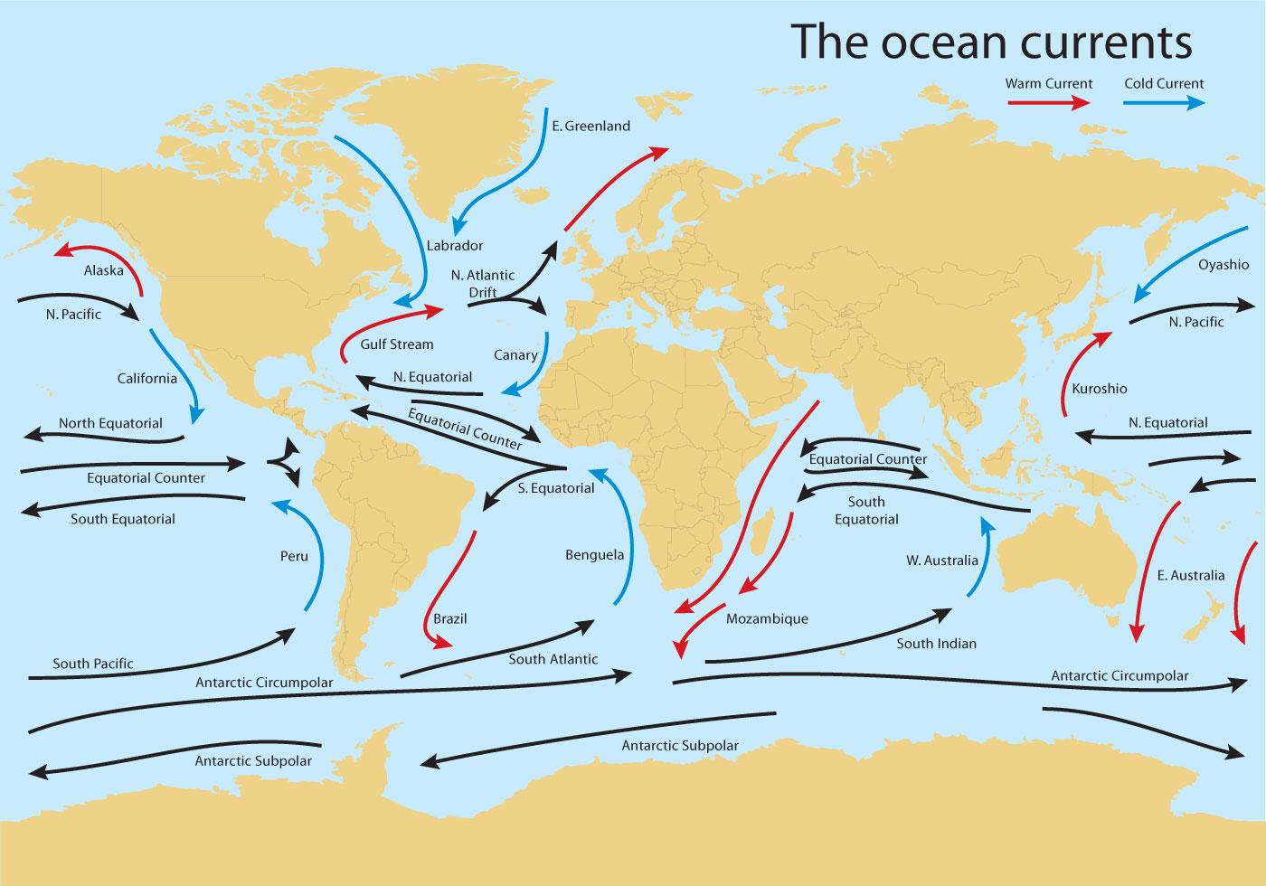 Ocean Current Worldmap Vector