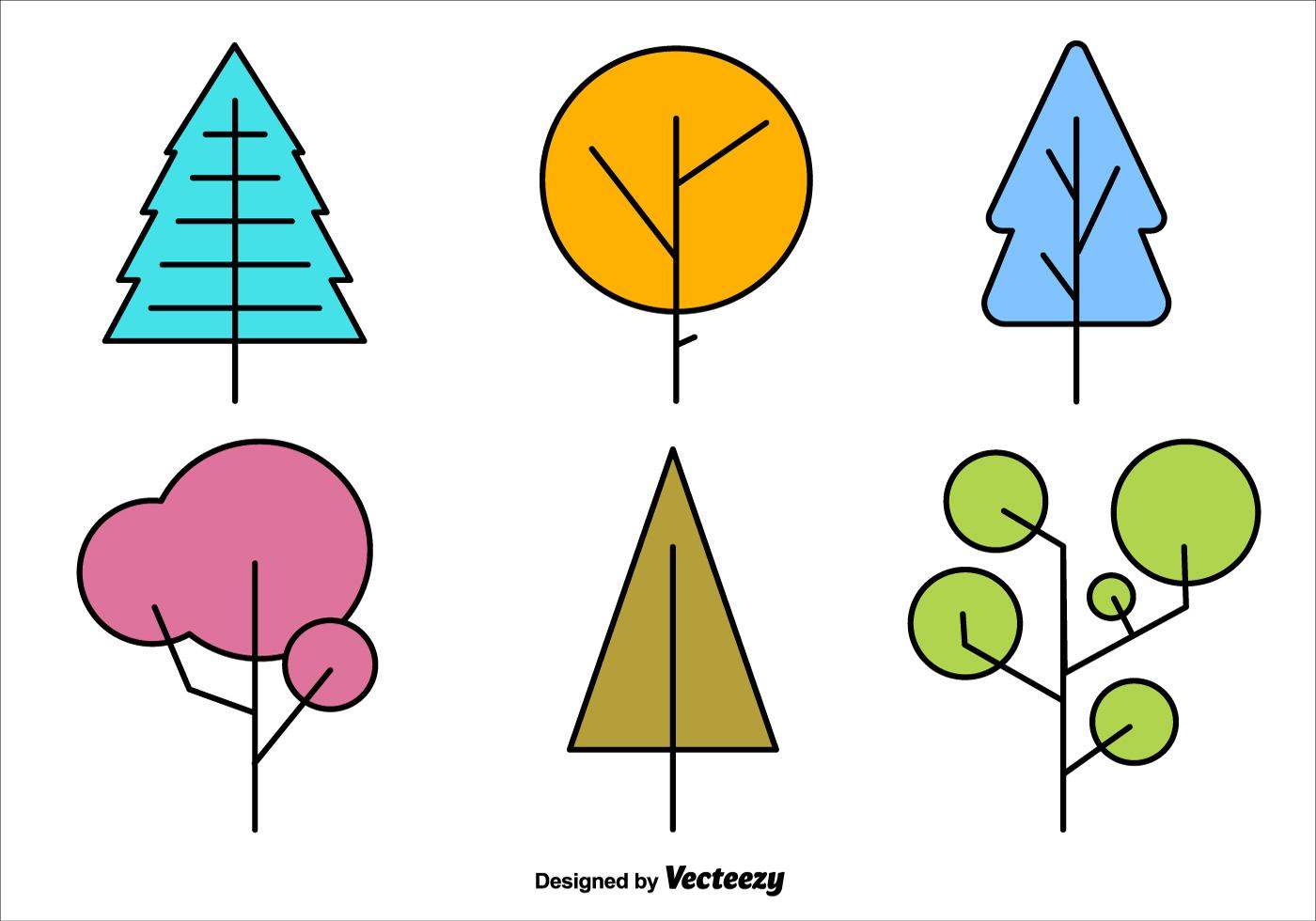 Geometric Minimal Tree Vector Shapes Download Free
