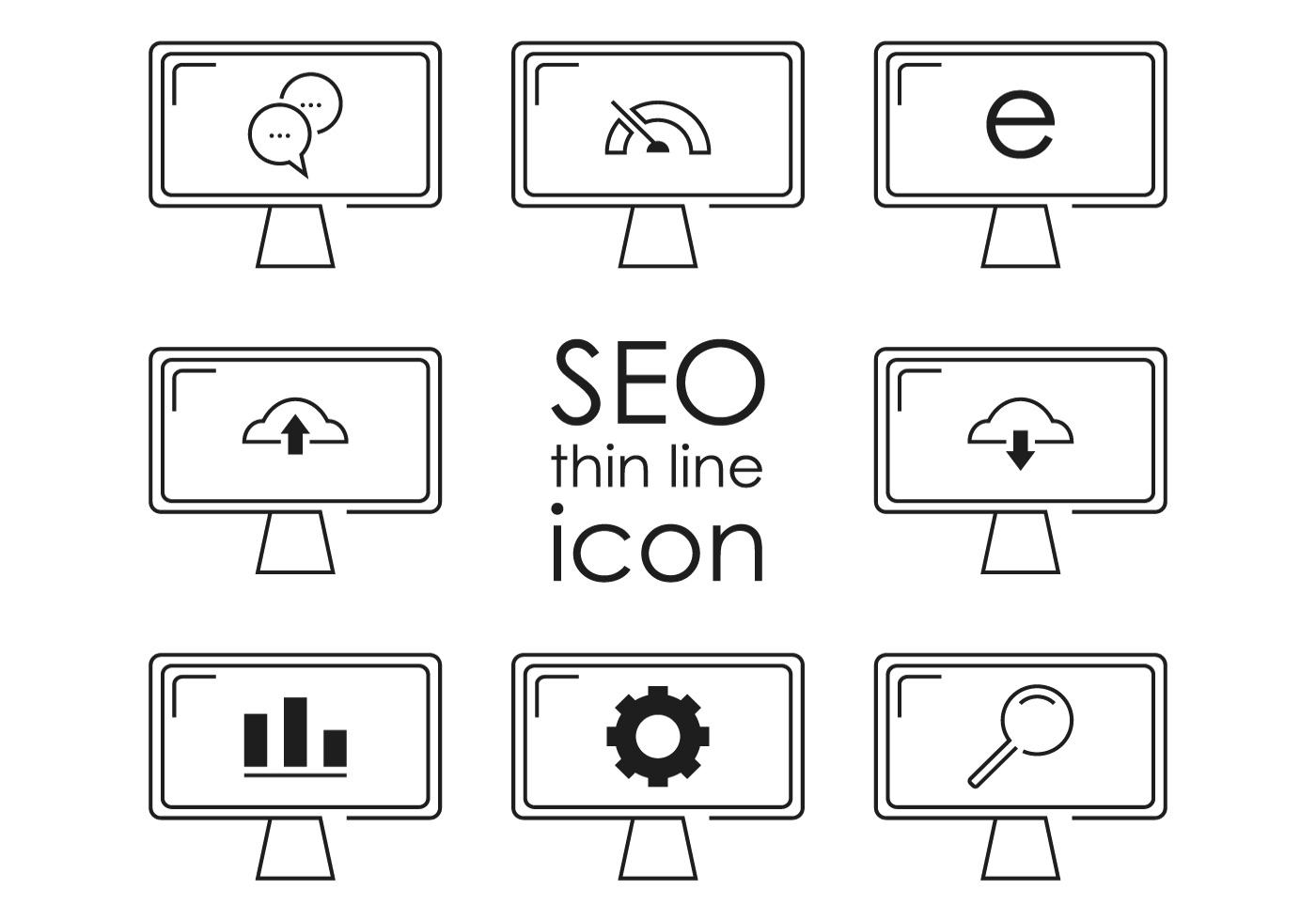 Thin Line Seo Icon Vectors