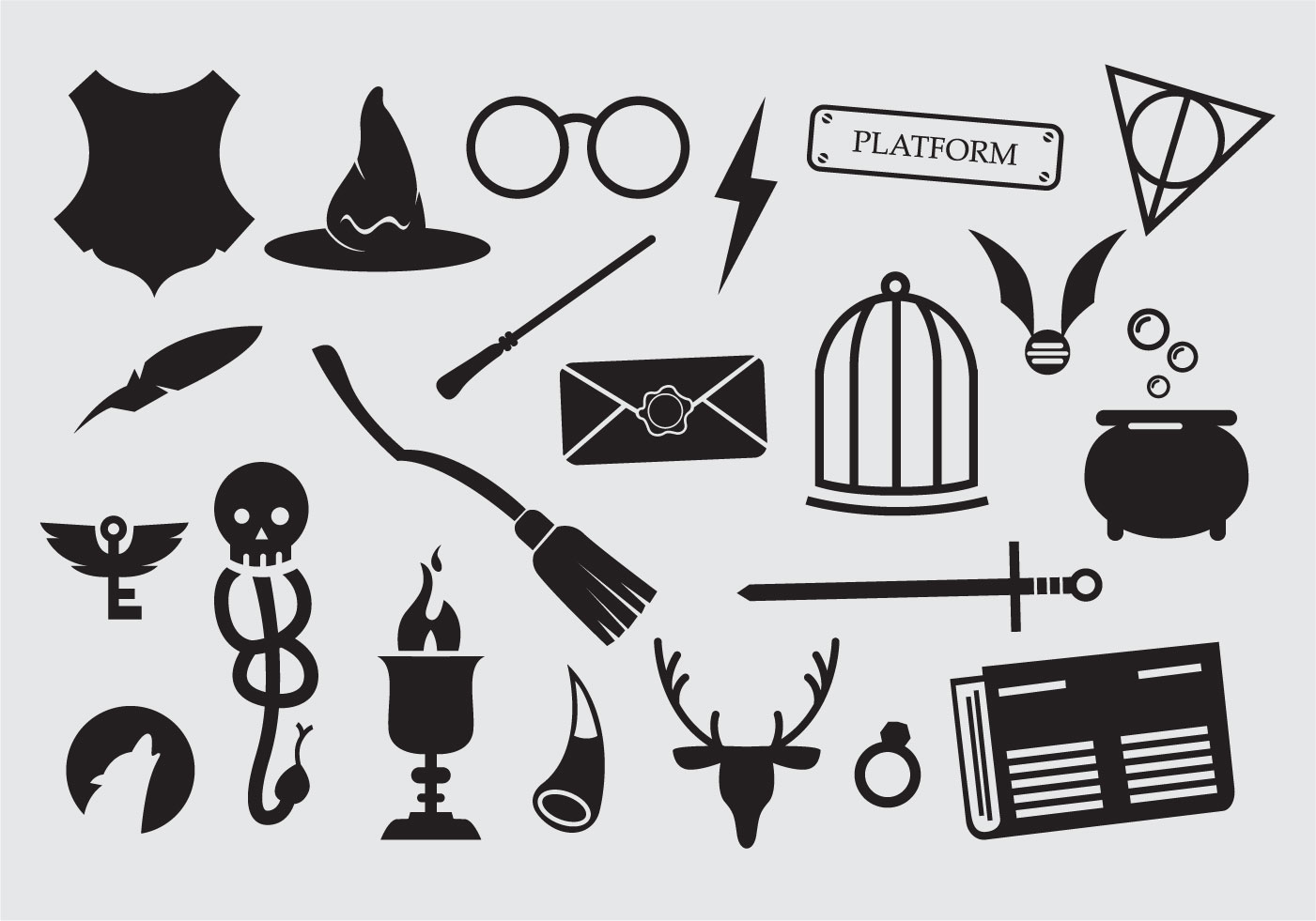 Large Set Of Sorcery Wizard Icons