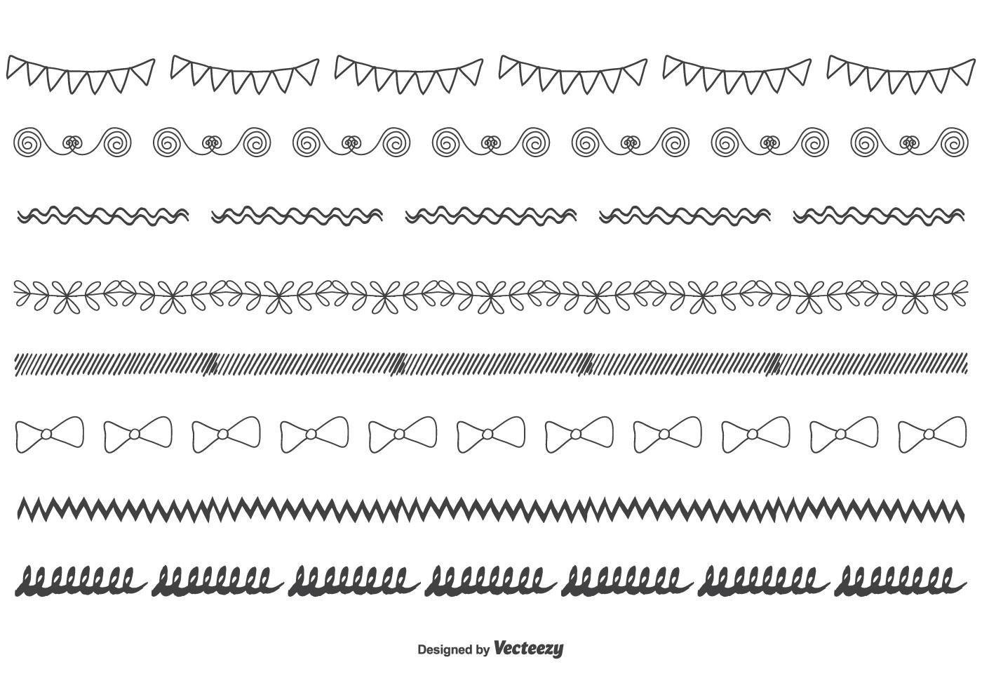 Hand Drawn Vector Border Set Download Free Vector Art
