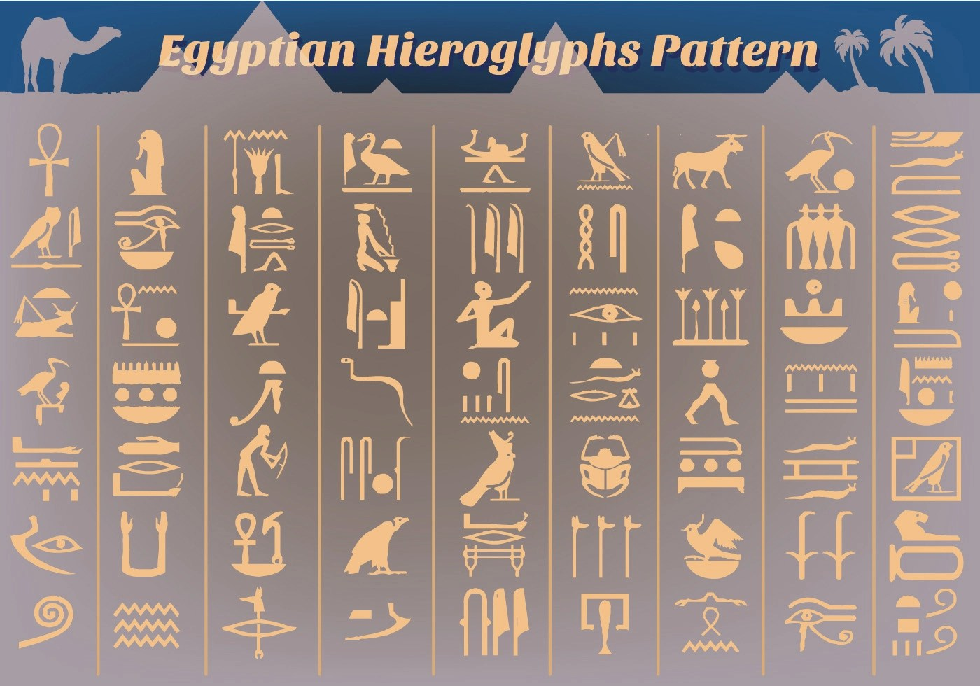 Free Ancient Egyptian Hieroglyphs Vector - Download Free Vector Art. Stock Graphics & Images