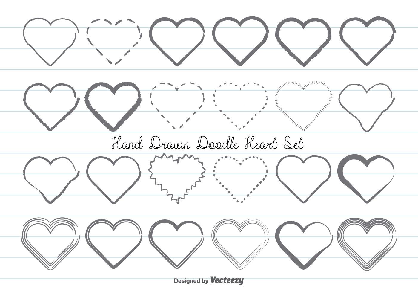 Hand Drawn Doodle Hearts Set