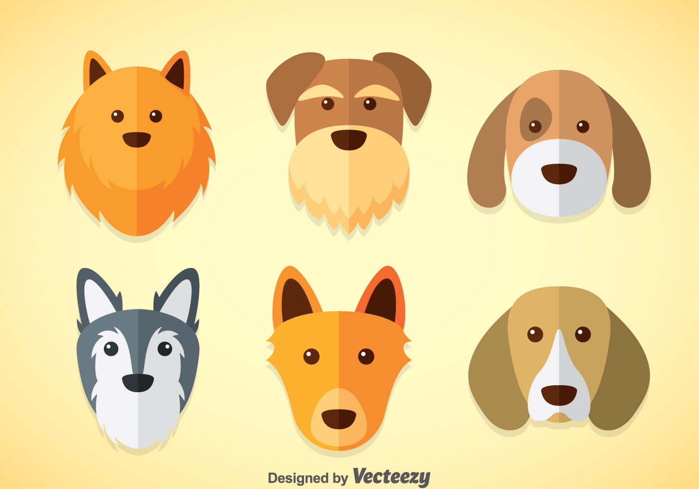 Cute Fluffy Dogs Wallpaper Dogs Vector Sets Download Free Vector Art Stock