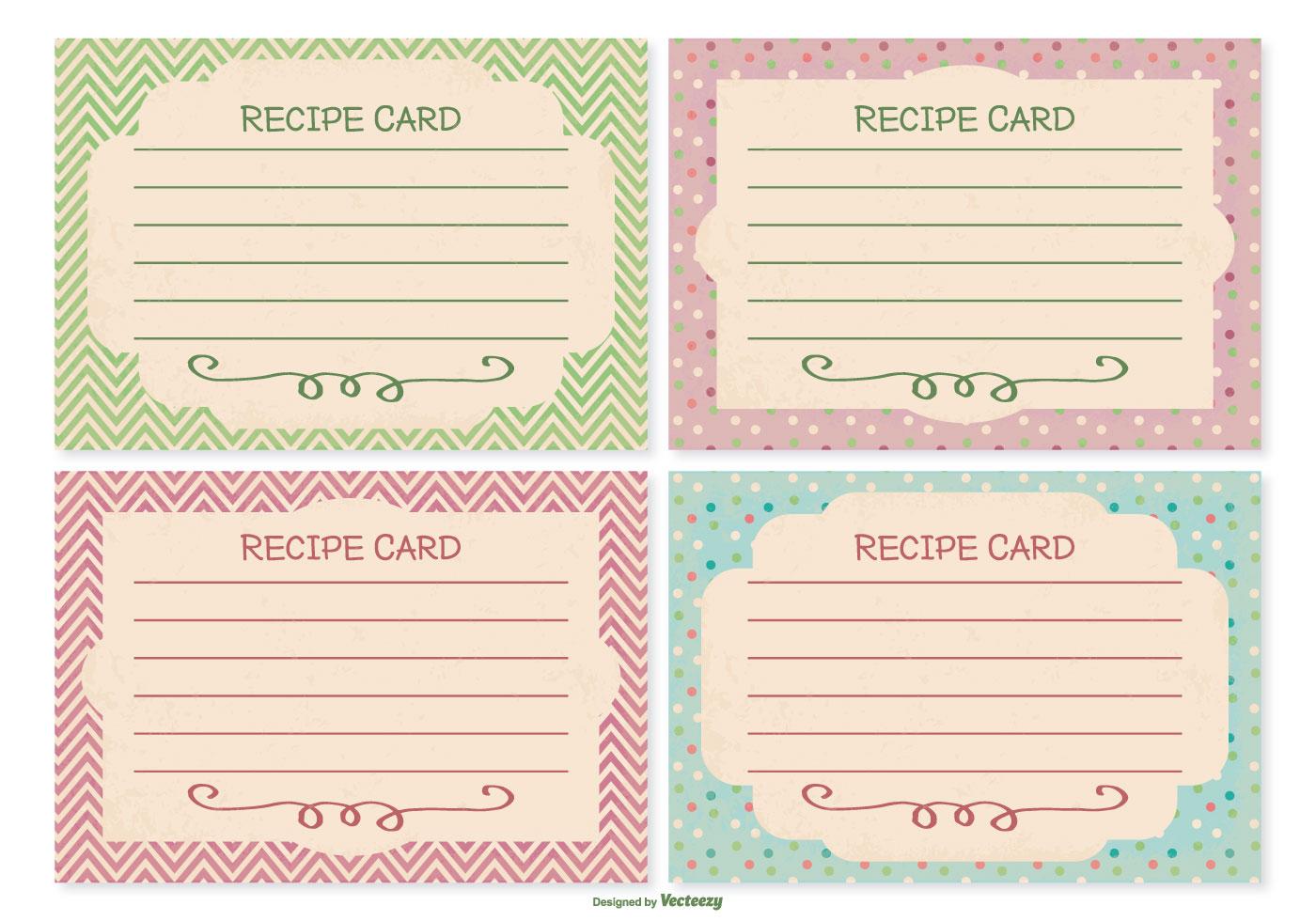 Retro Style Recipe Card Set Download Free Vector Art