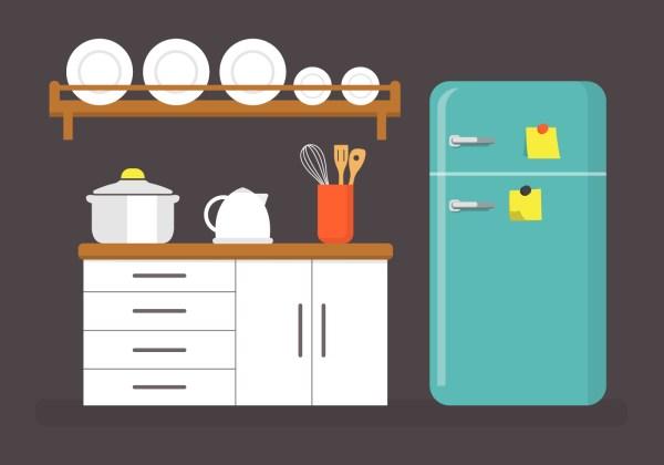 Flat Kitchen Vector Illustration - Free