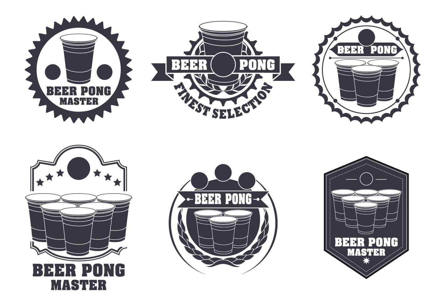 Beer Pong Label Vector Set