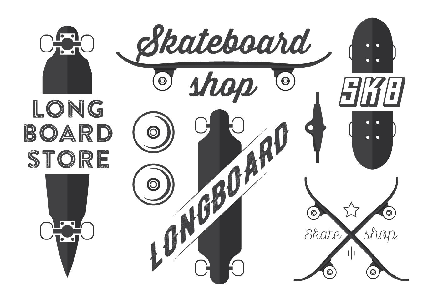Skateboard And Longboard Vector Emblems