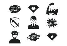 Superhero Kid Clip Art Black and White