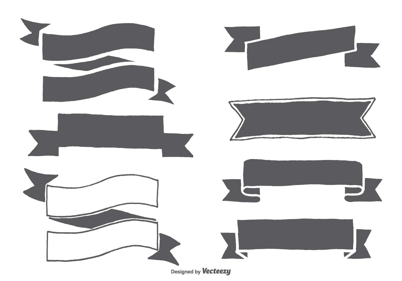Hand Drawn Ribbon Shapes  Download Free Vectors Clipart
