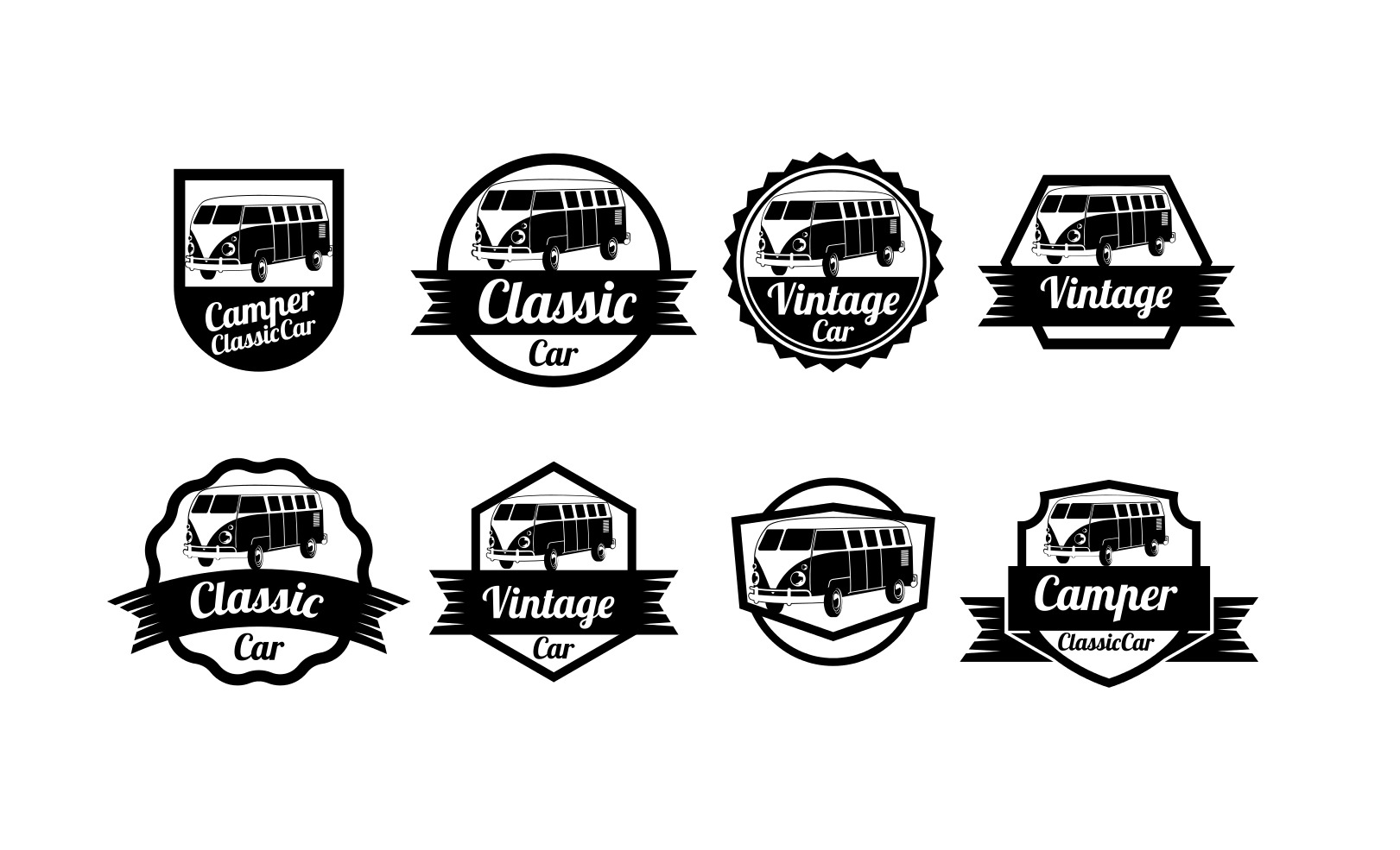 Vw Camper Vector Badges