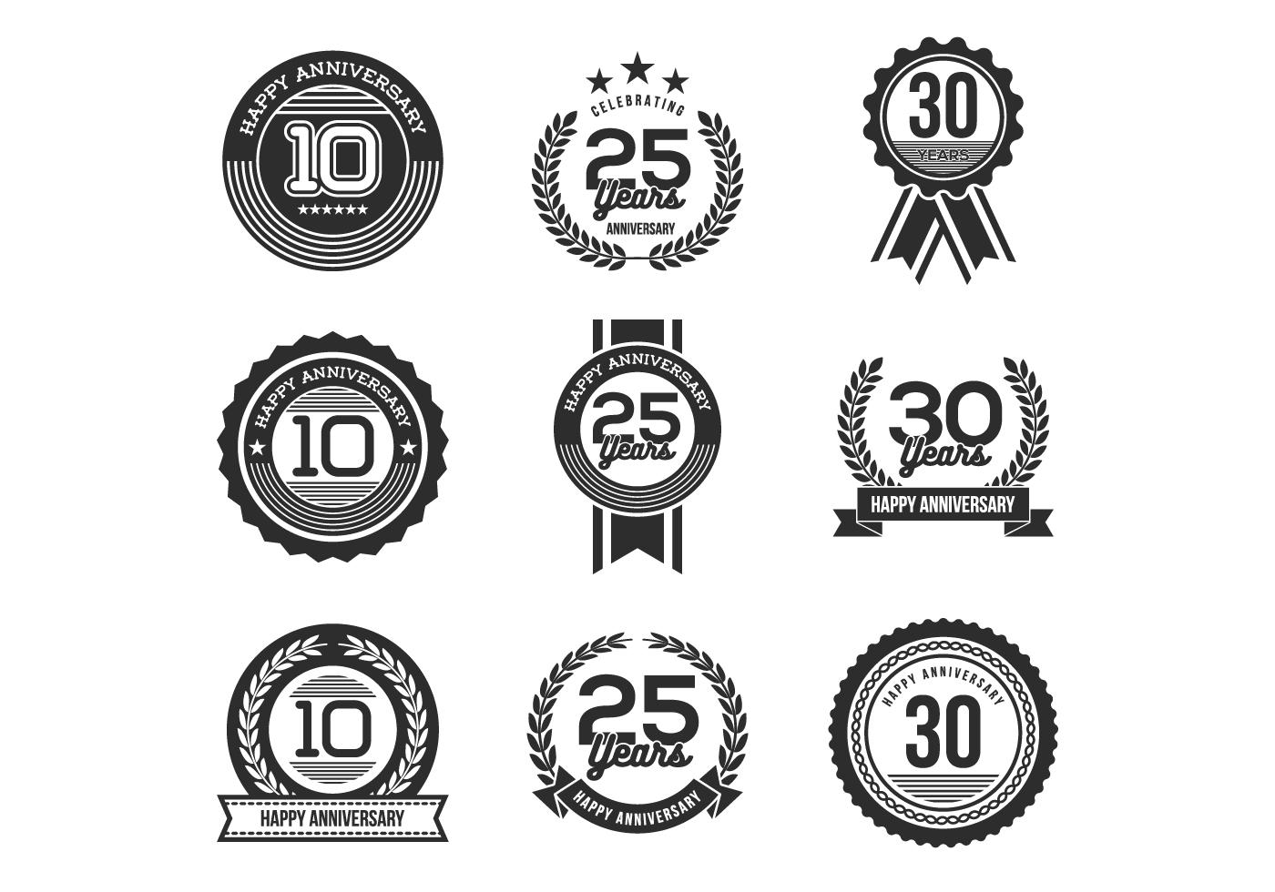 Free Anniversary Badges Vectors