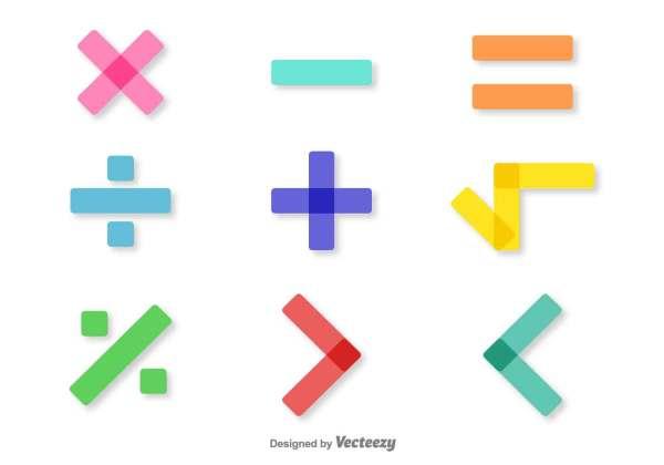 Vector Colorful Math Symbols Set - Free