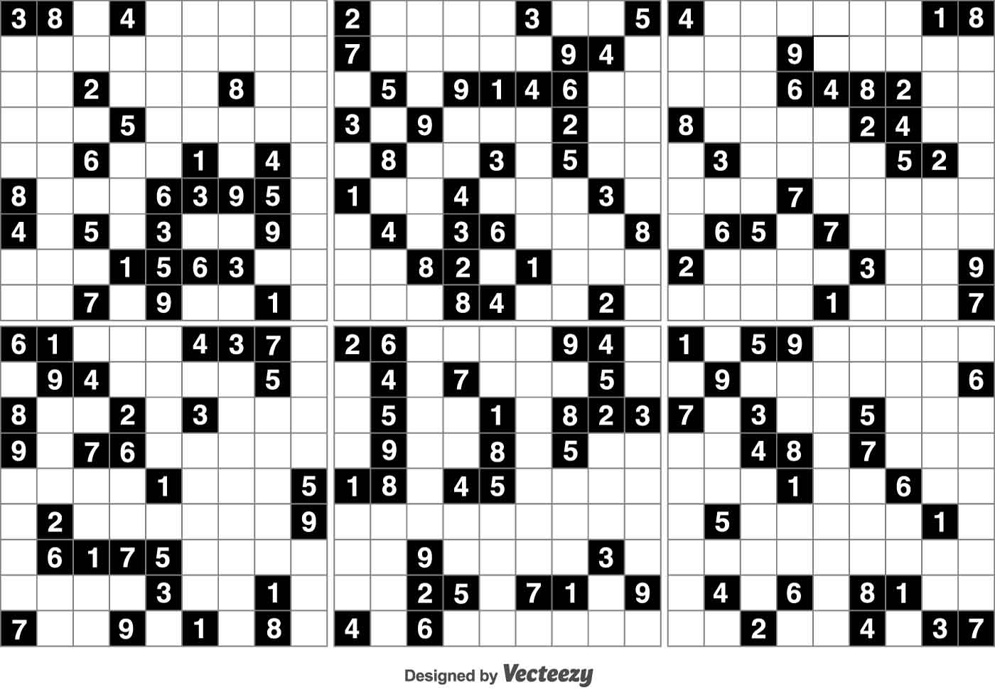 Vector Black Sudoku Puzzle Game