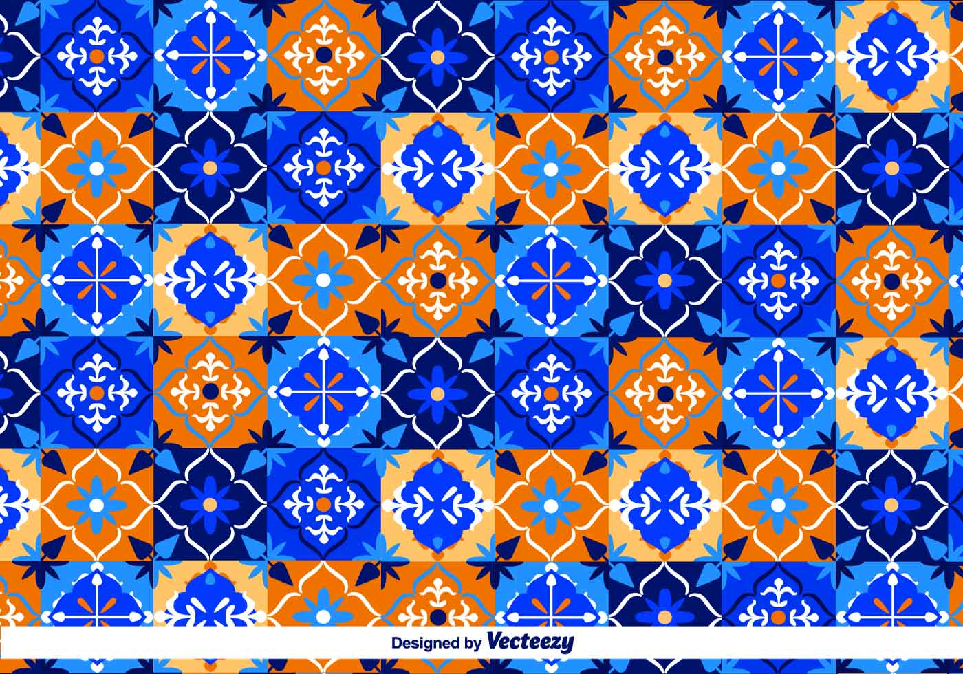 Blue Talavera Vector Pattern  Download Free Vector Art