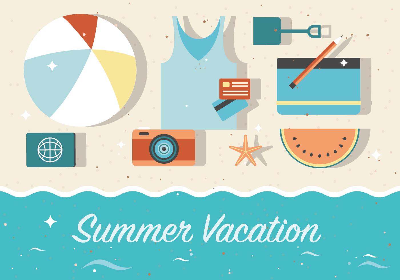 Free Summer Vacation Vector Background Download Free Vectors Clipart Graphics Vector Art