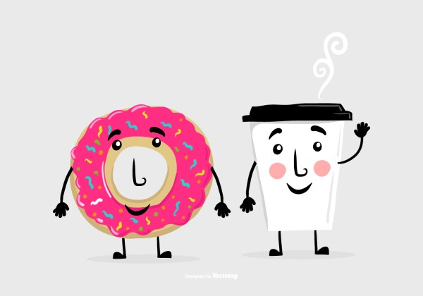 Donut Coffee Friend Vectors - Free Vector Art