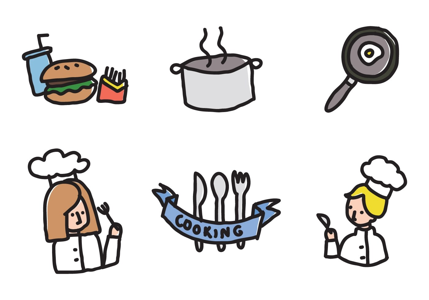 Kids Cooking Icons Download Free Vector Art Stock