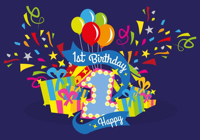 First Birthday Vector Illustration Download Free Vector