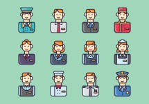 Set Of Hotel Staff Vectors - Free Vector Art