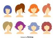 girl hair style collection vector