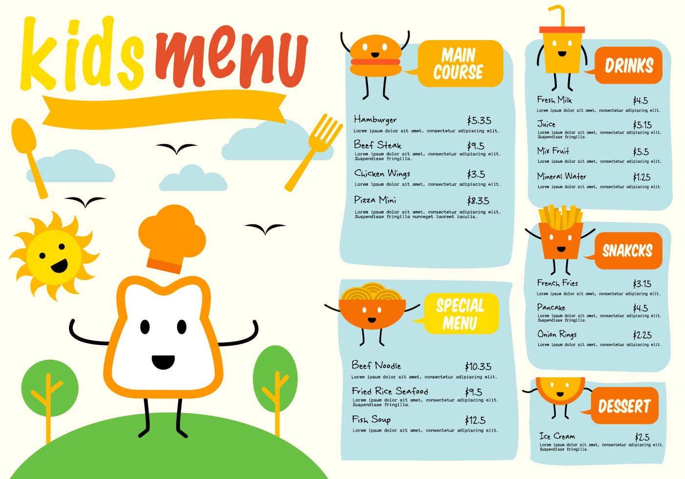 Kids Menu Free Vector Art