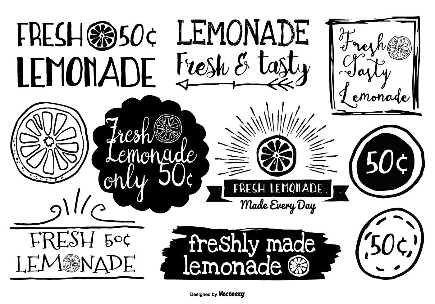 Hand Drawn Style Lemonade Labels