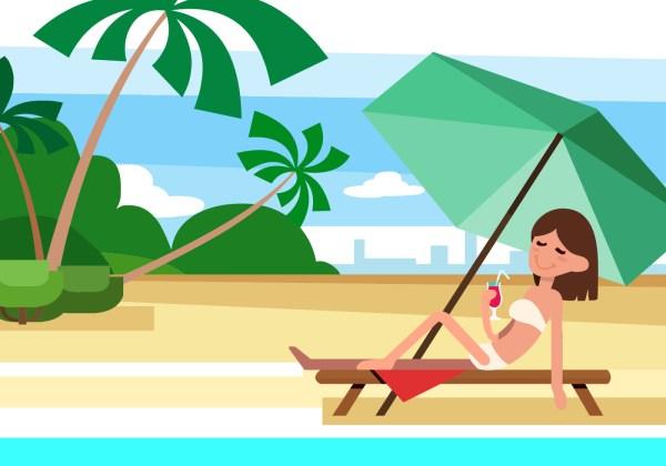 free summer beach vector illustration