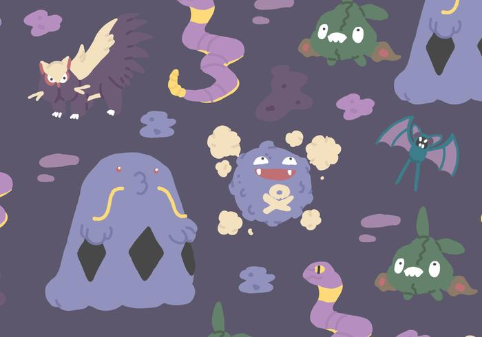 Cute Pokemon Tile Wallpaper Poison Type Pattern Download Free Vector Art Stock