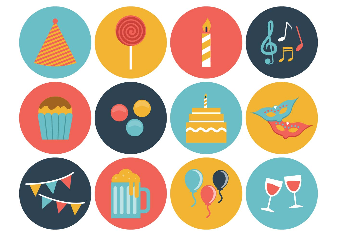Free Birthday Icons Vector Download Free Vector Art