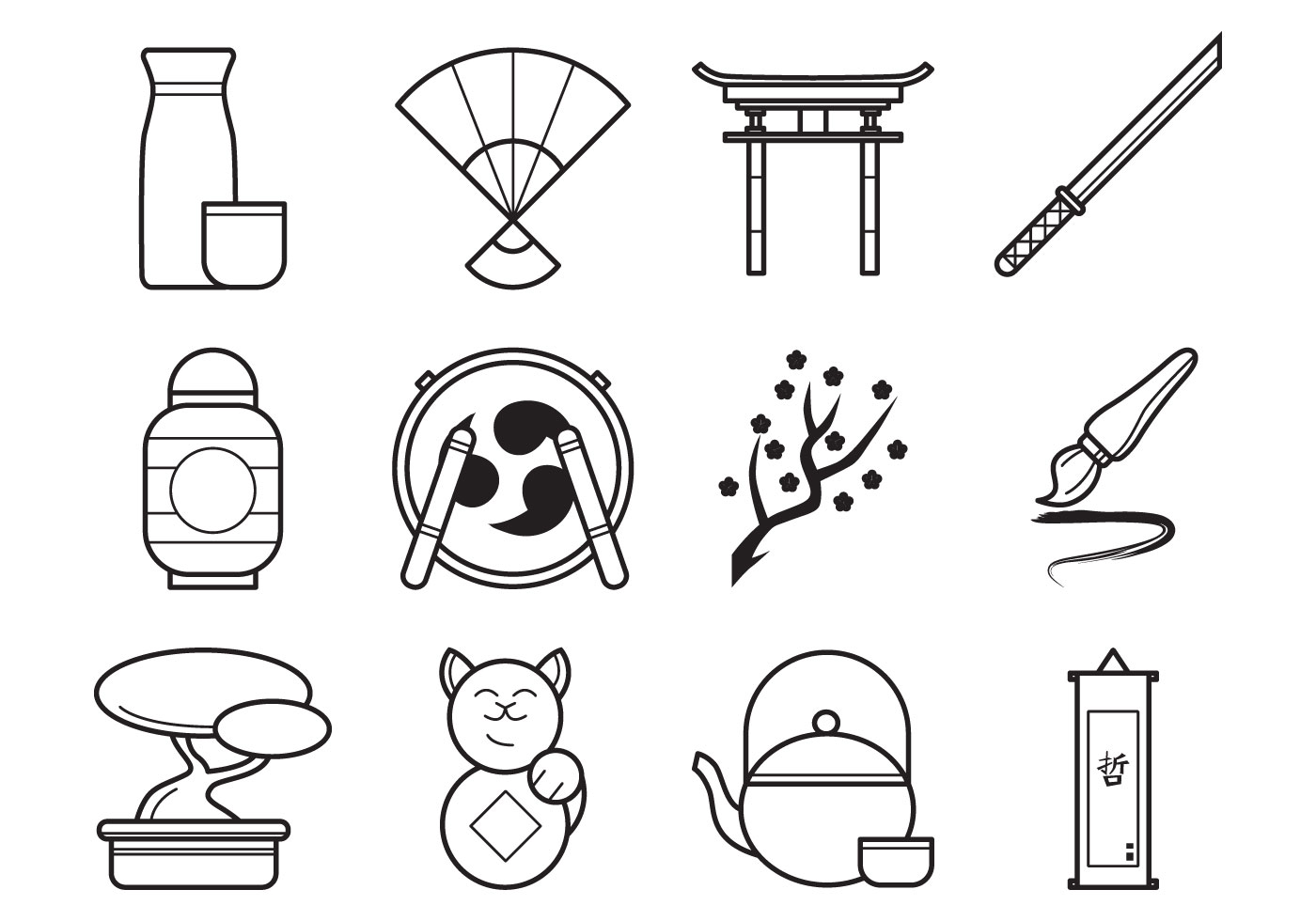 Free Japanese Icon Vector Pack