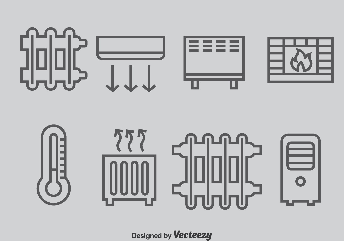 Heating And Cooling System Icons Vector