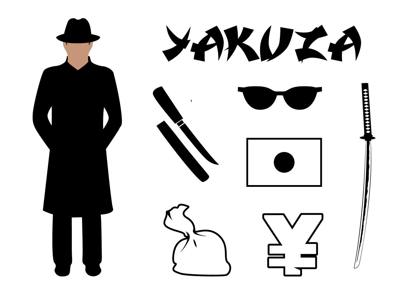 Vector Set Yakuza Symbols Associated Japan