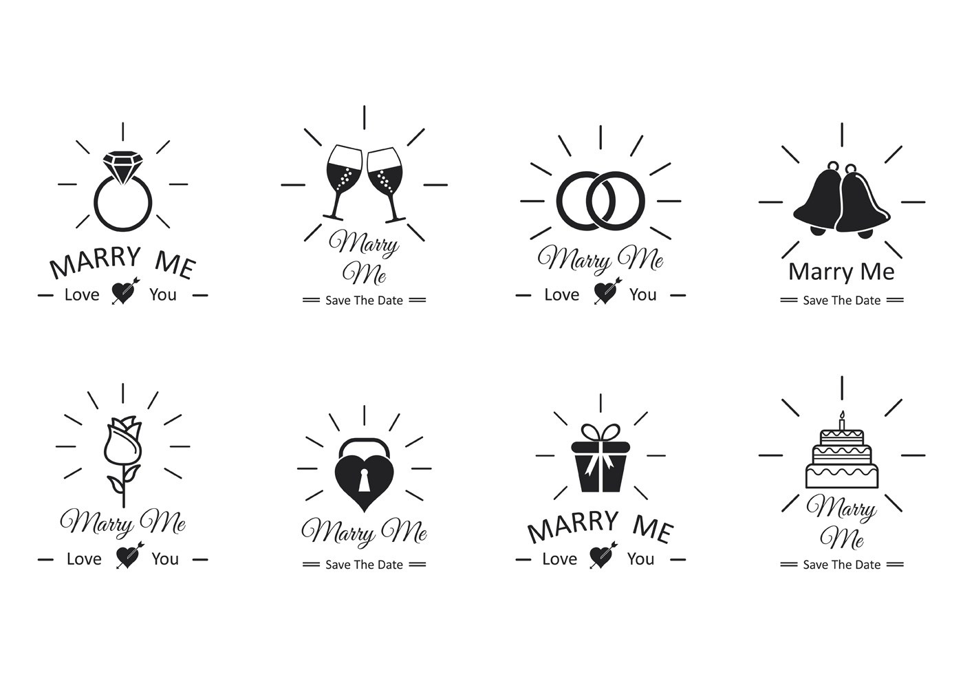 Set Of Marry Me Vector Download Free Vector Art Stock