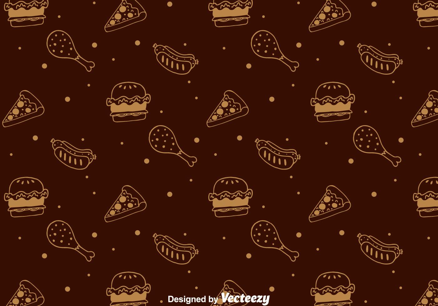 Cute Pizza Wallpaper Hand Drawn Fast Food Pattern Download Free Vectors